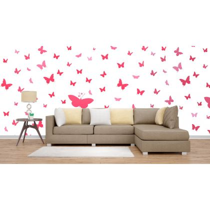 Set of 20 Pink Butterfly Wall Stickers, Pattern For kids room wall stickers