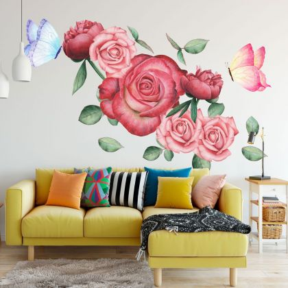 Floral Wall Sticker, Floral Roses Vinyl Wall Stickers, Roses Decals for Home decor