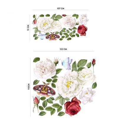 Peonies Floral Wall Sticker, Floral White Roses Vinyl Wall Stickers, Roses Decals for Home decor