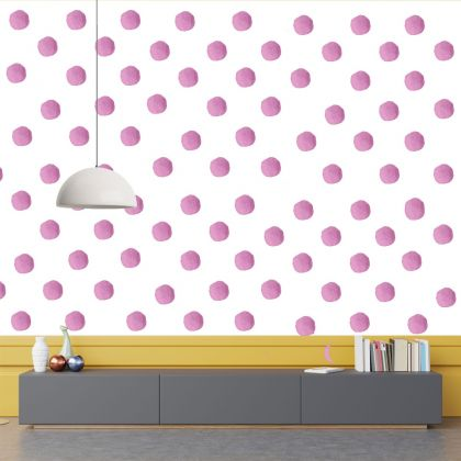 Set of 20 Pink Polka Dots Wall Stickers, Watercolour Effect Pattern for kids room wall stickers