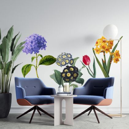 Floral Wall Sticker, Floral Vinyl Wall Stickers, Decals for Home decor