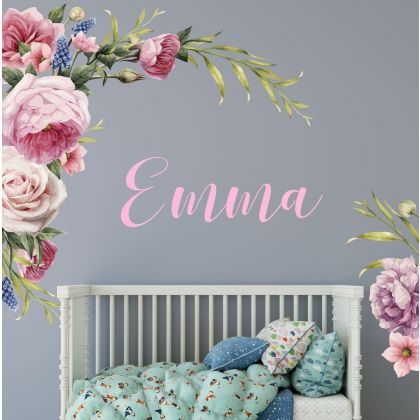 Custom Name Floral Wall Sticker, Floral Vinyl Stickers, Decals for Home decor