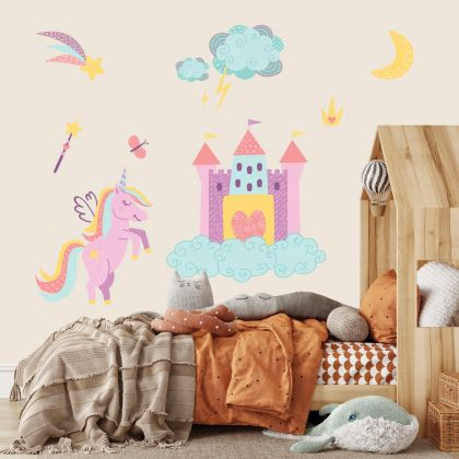 Unicorn Castle Wall Stickers Fantasy Girls Bedroom Wall Art