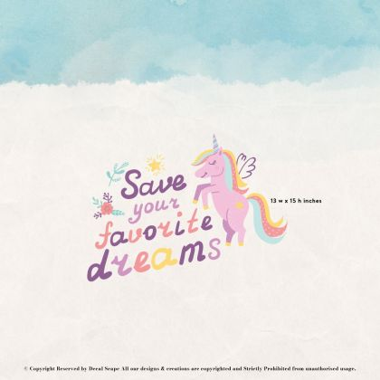 Save your favourite dreams Unicorn Wall Stickers Fantasy Girls Bedroom Wall Art