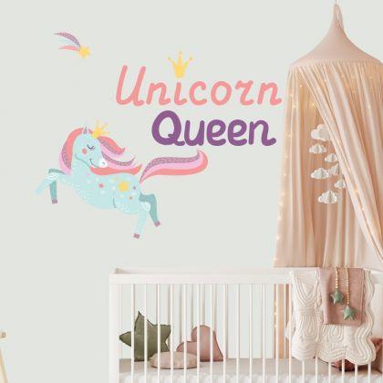 Unicorn Queen Wall Stickers Fantasy Girls Bedroom Wall Art