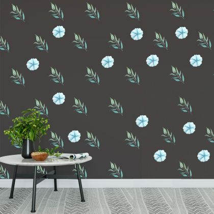 Blue Floral Wall Sticker, Floral Blue Vinyl Wall Stickers, Decals for Home decor