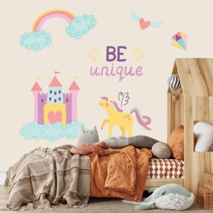 Be Unique Unicorn Wall Stickers Fantasy Girls Bedroom Wall Art