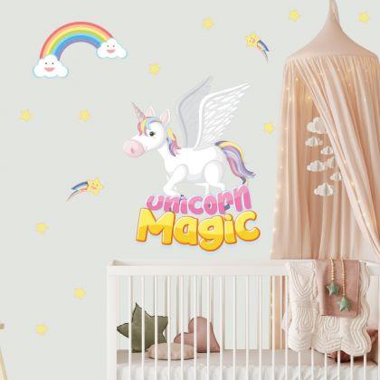 Unicorn Magic Wall Stickers Fantasy Girls Bedroom Wall Art