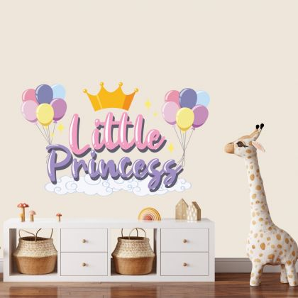Little Princess Crown Unicorn Wall Stickers Fantasy Girls Bedroom Wall Art