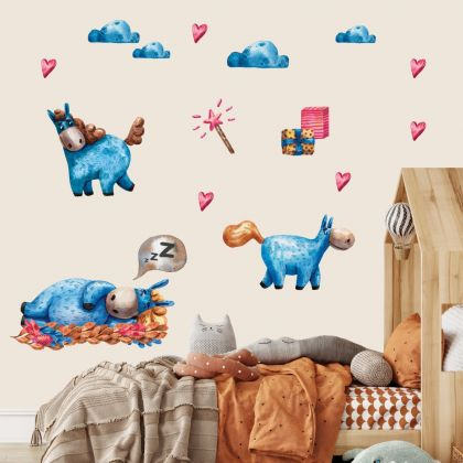 Pink and Blue Unicorn Wall Stickers Fantasy Girls Bedroom Wall Art