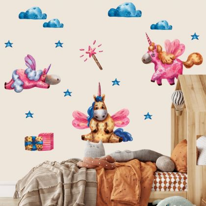 Watercolour Magical Unicorn Wall Stickers Fantasy Girls Bedroom Wall Art