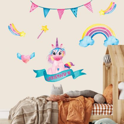 Custom name Unicorn Wall Stickers Fantasy Girls Bedroom Wall Art