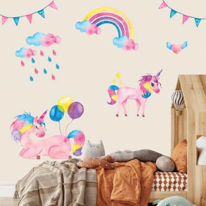 Colourful Unicorn Wall Stickers Fantasy Girls Bedroom Wall Art