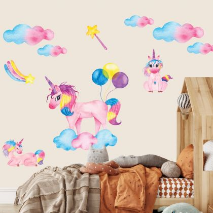 Watercolour Unicorn Wall Stickers Fantasy Girls room Wall Art