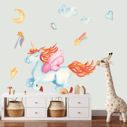 Watercolour Flying Unicorn Wall Stickers Fantasy Girls Bedroom Wall Art