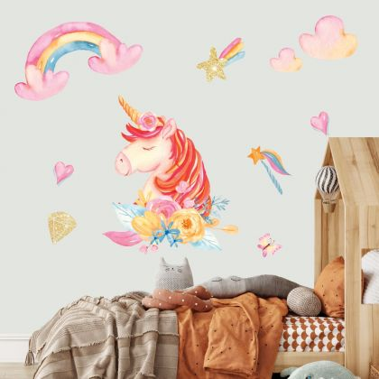 Unicorn Wall Sticker set with Golden Objects Fantasy Girls Bedroom Wall Art
