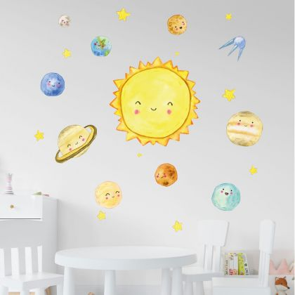 Space wall stickers for Nursery, kids room Space Aliens Space Shuttle for vinyl wall decals