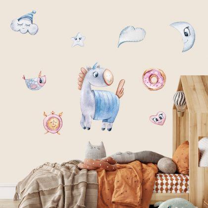 Unicorn with Moon Wall Stickers Fantasy Girls Bedroom Wall Art