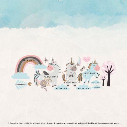 Magical Unicorn Wall Stickers Fantasy Girls Bedroom Wall Art