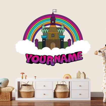 Custom Name Castle Rainbow Wall Stickers Fantasy Girls Bedroom Wall Art