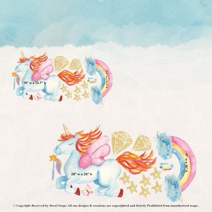 Flying Blue Unicorn Wall Stickers Fantasy Girls Bedroom Wall Art