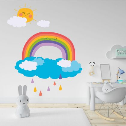 Rainbow wall stickers for Nursery, kids room Clouds and Sun vinyl wall decals for home décor