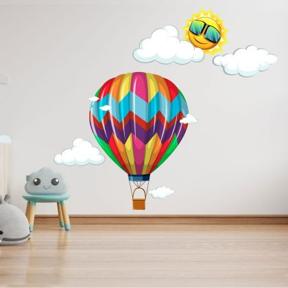 Hot Air Balloons Watercolour Wall Decals, Sun Clouds for kids room wall stickers