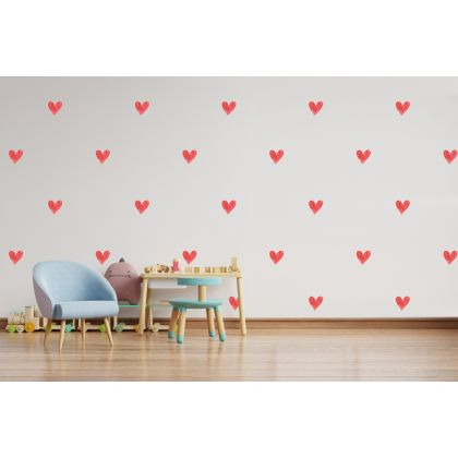 Set of 84 Red Watercolour Hearts Wall Decals, Pattern for kids room wall stickers