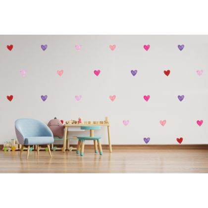 Set of 75 Multicolour Watercolour Hearts Wall Decals, Pattern for kids room wall stickers
