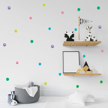 Set of 75 Multicolour Watercolour Polka Dots Wall Decals, Pattern for kids room wall stickers