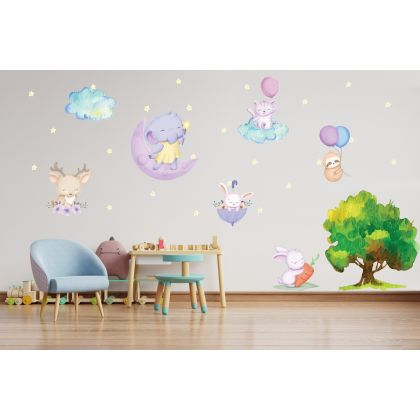 Fairy Animals Wall Sticker,Bunny Vinyl Wall Stickers, Bunny Stars Clouds Decals for Kids Room