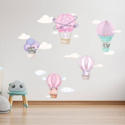 Fairy Animals Wall Sticker,Unicorn Parachute Vinyl Wall Stickers, Bunny Clouds Decals for Kids Room