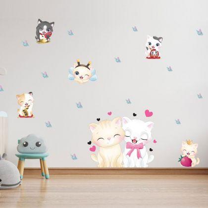 Fairy Kitty Animals Wall Sticker,Kitty Butterfly Vinyl Wall Stickers, Butterfly Hearts Decals for Kids Room