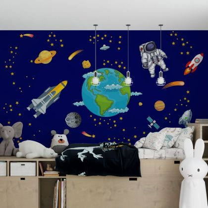Space wall stickers for Nursery kids room decoration