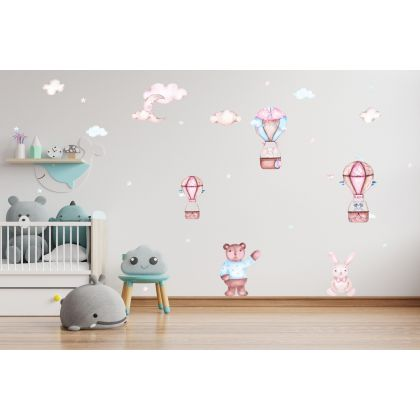 Fairy Animals Wall Sticker,Animals Parachute Vinyl Wall Stickers, Cloud Moon Star Decals for Kids Room