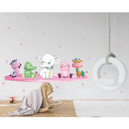 Animals Wall Sticker,Animals Polka Dots Vinyl Wall Stickers, Pink Animals Decals for Kids Room