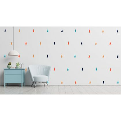 Set of 90 Colorful Raindrops stickers for Nursery wall decals