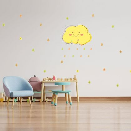 Autumn Clouds and Leaves Wall Sticker- Fall Leaves Wall Decal For Autumn Decorations