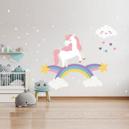 Rainbow wall stickers for Nursery, kids room Unicorn Starburst vinyl wall decals