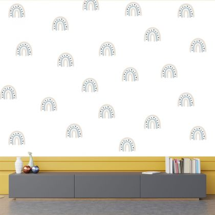 Set of 20 Multicolour Rainbow Wall Decals, Pastel Colour Pattern for kids room wall stickers