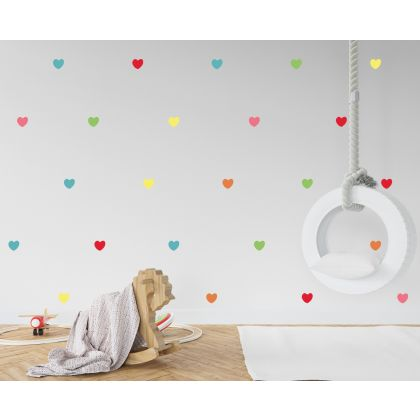 Set of 42 Rainbow Colour Hearts Wall Decals, Pattern kids room wall stickers