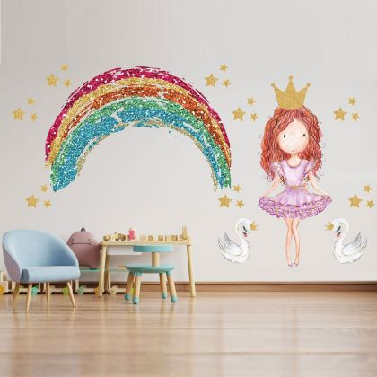 Multicolour Princess with Rainbow and Swan Wall Decals, Stars for kids room wall stickers