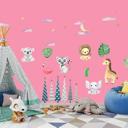 Jungle Animals Nursery Wall Stickers,Safari Animal Wall Vinyl Wall Stickers for Kids Room