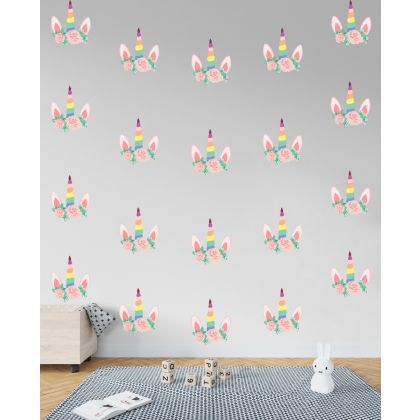 Set of 15 Multicolour unicorn Wall Decals, Pattern for kids room wall stickers
