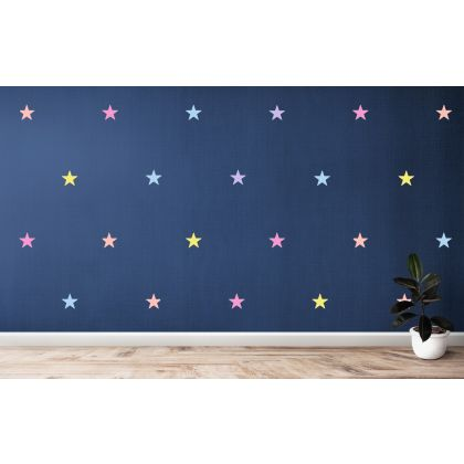 Set of 42 Pastel Colour Star Wall Decals, Pattern for kids room wall stickers