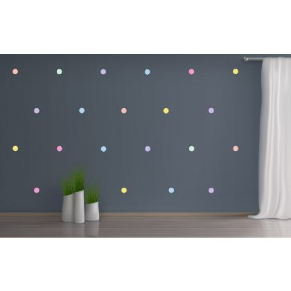Set of 42 Pastel Colour Polka Dots Wall Decals, Pattern for kids room wall stickers