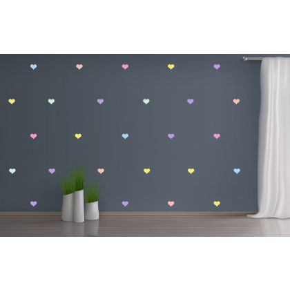 Set of 42 Pastel Colour Heart Wall Decals, Pattern for kids room wall stickers
