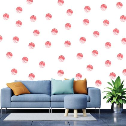 Set of 20 Red Polka Dots Wall Stickers, Watercolour Effect Pattern for kids room wall stickers