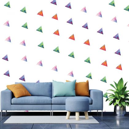 Set of 20 Multicolour Triangle Wall Stickers, Watercolour Effect Pattern kids for room wall stickers