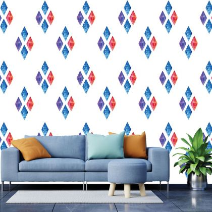 Set of 20 Multicolour Diamond Wall Stickers, Watercolour Effect Pattern for kids room wall stickers
